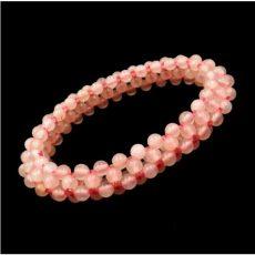 Rózsakvarc fűzött gyöngy hurka karkötő