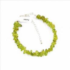 Peridot (olivin) splitter szemcse karkötő