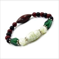 Férfi ásvány karkötő smaragd, jáspis, jade