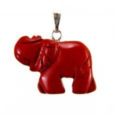 Piros jáspis elefánt medál