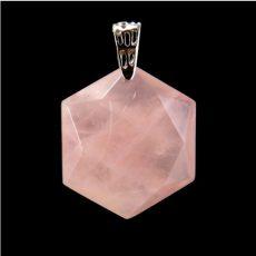 Fazettált hexagon rózsakvarc  medál