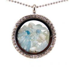 Üveg szelence akvamarin drágakövekkel