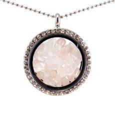 Üveg szelence rózsakvarc ásványokkal