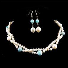 Larimár nyaklánc és fülbevaló tenyésztett gyöngyökkel