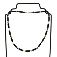 12 DNS Mesterkristály férfi nyaklánc -ónix hengeres