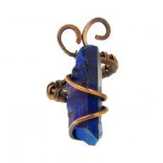 Királyi aurakvarc gyűrű, antikolt rézdrót foglalatban