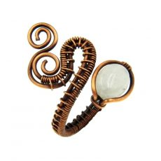 Szivárvány holdkő gyűrű, antikolt rézdrót foglalatban