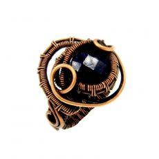 Gránát gyűrű, antikolt réz foglalatban