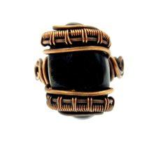 Sólyomszem gyűrű, antikolt rézdrót foglalatban