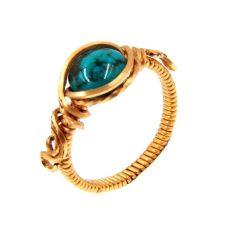 Türkiz gyűrű, rézdrót foglalatban