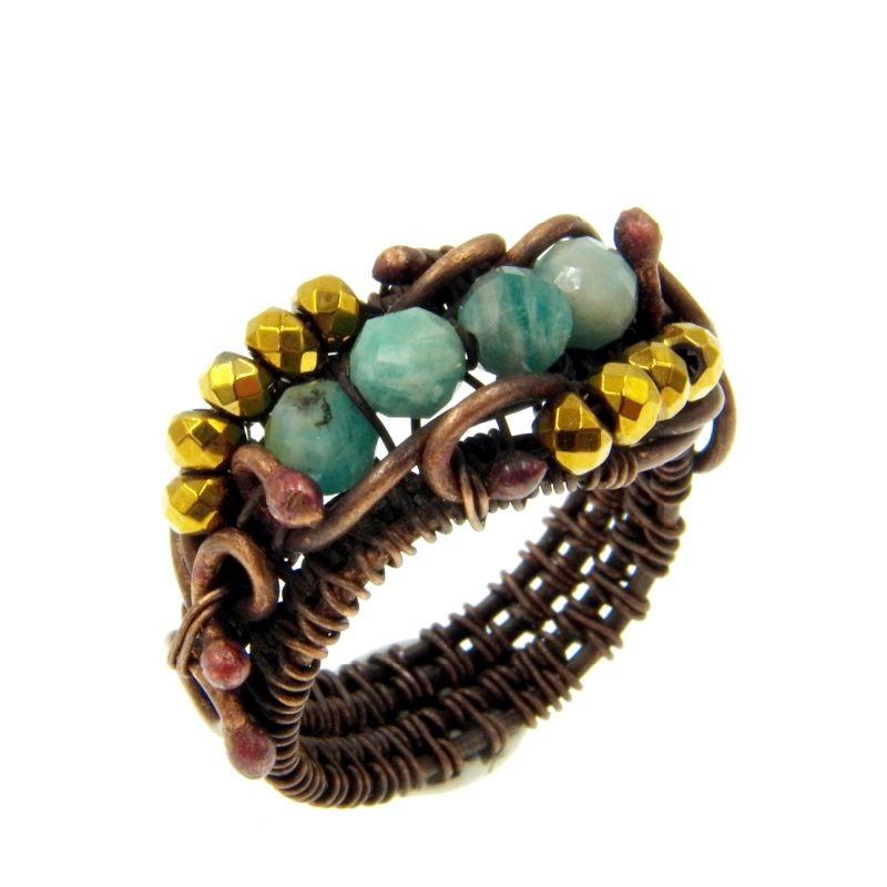 Image of Amazonit gyűrű, antikolt rézdrót foglalatban